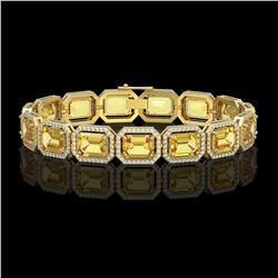 34.91 ctw Fancy Citrine & Diamond Micro Pave Halo Bracelet 10k Yellow Gold - REF-336A4N