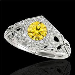 1.4 ctw SI/I Fancy Intense Yellow Diamond Antique Ring 10k White Gold - REF-203H2R