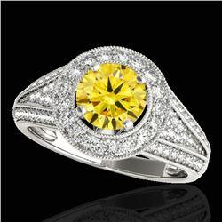 1.7 ctw Certified SI/I Fancy Intense Yellow Diamond Ring 10k White Gold - REF-211N4F