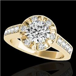 2 ctw Certified Diamond Solitaire Halo Ring 10k Yellow Gold - REF-286F4M