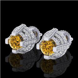 2.75 ctw Intense Fancy Yellow Diamond Micro Pave Earrings 18k White Gold - REF-263M6G