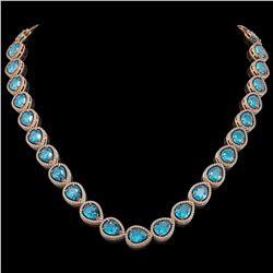 43.2 ctw Swiss Topaz & Diamond Micro Pave Halo Necklace 10k Rose Gold - REF-609G8W