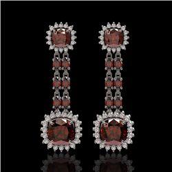 18.92 ctw Garnet & Diamond Earrings 14K White Gold - REF-231F5M