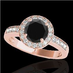 2 ctw Certified VS Black Diamond Solitaire Halo Ring 10k Rose Gold - REF-65X5A