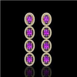 5.56 ctw Amethyst & Diamond Micro Pave Halo Earrings 10k Yellow Gold - REF-143M6G
