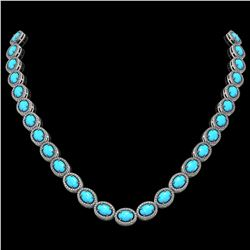36.208 ctw Turquoise & Diamond Micro Pave Halo Necklace 10k White Gold - REF-553K5Y