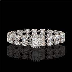 13.82 ctw Cushion Cut & Oval Diamond Bracelet 18K White Gold - REF-1648W8H