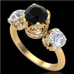 3 ctw Fancy Black Diamond Art Deco 3 Stone Ring 18k Yellow Gold - REF-318F2M