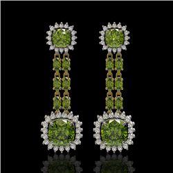 18.38 ctw Tourmaline & Diamond Earrings 14K Yellow Gold - REF-416A9N