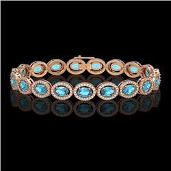 14.82 ctw Swiss Topaz & Diamond Micro Pave Halo Bracelet 10k Rose Gold - REF-263X6A