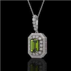 6.7 ctw Tourmaline & Diamond Victorian Necklace 14K White Gold - REF-254Y5X