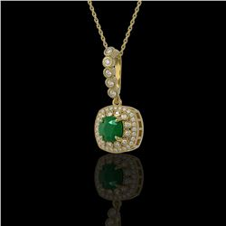 2.55 ctw Certified Emerald & Diamond Victorian Necklace 14K Yellow Gold - REF-100W2H