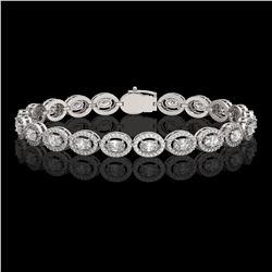 8.06 ctw Oval Cut Diamond Micro Pave Bracelet 18K White Gold - REF-699A3N