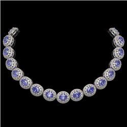 114.35 ctw Tanzanite & Diamond Victorian Necklace 14K White Gold - REF-3400M2G