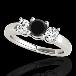2 ctw Certified VS Black Diamond 3 Stone Solitaire Ring 10k White Gold - REF-139A3N