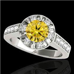 2 ctw Certified SI/I Fancy Intense Yellow Diamond Halo Ring 10k White Gold - REF-259A3N