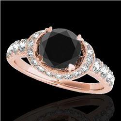 1.75 ctw Certified VS Black Diamond Solitaire Halo Ring 10k Rose Gold - REF-64R8K