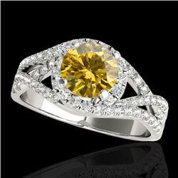 2 ctw Certified SI Fancy Intense Diamond Halo Ring 10k White Gold - REF-313M6G