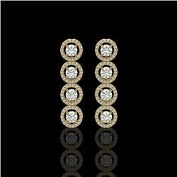 3.84 ctw Diamond Micro Pave Earrings 18K Yellow Gold - REF-304K8Y