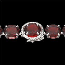 65 ctw Garnet & Micro Pave VS/SI Diamond Bracelet 14k White Gold - REF-209Y3X