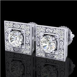 1.63 ctw VS/SI Diamond Solitaire Art Deco Stud Earrings 18k White Gold - REF-254N5F