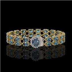 17.78 ctw London Topaz & Diamond Bracelet 14K Yellow Gold - REF-209K3Y
