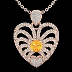 3 ctw Citrine With Micro Pave Diamond Heart Necklace 14k Rose Gold - REF-127W3H