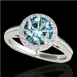 1.3 ctw SI Certified Fancy Blue Diamond Solitaire Halo Ring 10k 2Tone Gold - REF-129A5N