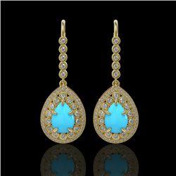 7.95 ctw Turquoise & Diamond Victorian Earrings 14K Yellow Gold - REF-241Y5X