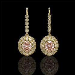 7.85 ctw Morganite & Diamond Victorian Earrings 14K Yellow Gold - REF-317F5M