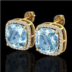12 ctw Sky Blue Topaz & Micro VS/SI Diamond Earrings 18k Yellow Gold - REF-83M3G