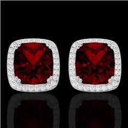 6 ctw Garnet & Micro Pave VS/SI Diamond Halo Earrings 18k White Gold - REF-76G4W