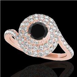 1.86 ctw Certified VS Black Diamond Solitaire Halo Ring 10k Rose Gold - REF-66K8Y