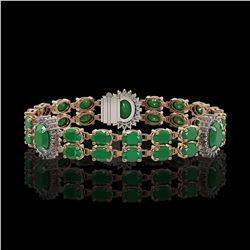 20.99 ctw Emerald & Diamond Bracelet 14K Rose Gold - REF-263Y6X