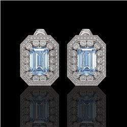 10.91 ctw Aquamarine & Diamond Victorian Earrings 14K White Gold - REF-327R3K