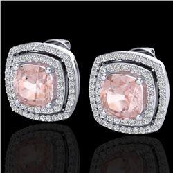 3.95 ctw Morganite & Micro Pave VS/SI Diamond Earrings 18k White Gold - REF-129R6K