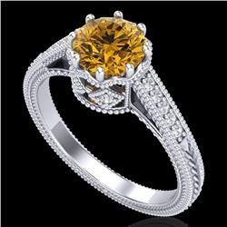 1.25 ctw Intense Fancy Yellow Diamond Art Deco Ring 18k White Gold - REF-300N2F