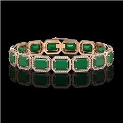 38.61 ctw Emerald & Diamond Micro Pave Halo Bracelet 10k Rose Gold - REF-456G5W