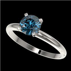 1 ctw Certified Intense Blue Diamond Engagment Ring 10k White Gold - REF-92W2H