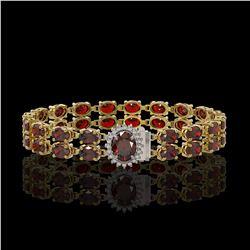 28.52 ctw Garnet & Diamond Bracelet 14K Yellow Gold - REF-218G2W