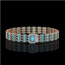 26.02 ctw Swiss Topaz & Diamond Bracelet 14K Rose Gold - REF-318K2Y