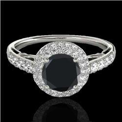 1.65 ctw Certified VS Black Diamond Solitaire Halo Ring 10k White Gold - REF-66H8R