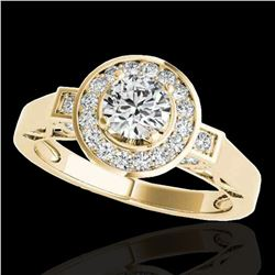 1.75 ctw Certified Diamond Solitaire Halo Ring 10k Yellow Gold - REF-259W3H