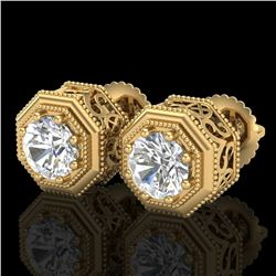 1.07 ctw VS/SI Diamond Solitaire Art Deco Stud Earrings 18k Yellow Gold - REF-218H2R