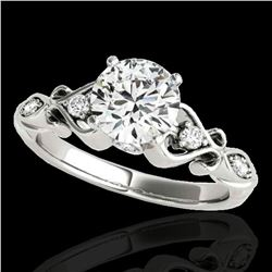1.15 ctw Certified Diamond Solitaire Antique Ring 10k White Gold - REF-190N9F