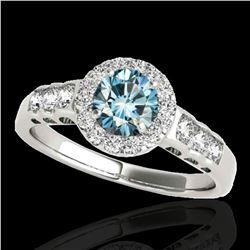 1.55 ctw SI Certified Fancy Blue Diamond Halo Ring 10k White Gold - REF-150N2F