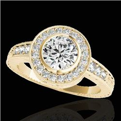1.50 ctw Certified Diamond Solitaire Halo Ring 10k Yellow Gold - REF-197A8N