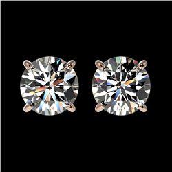1.55 ctw Certified Quality Diamond Stud Earrings 10k Rose Gold - REF-127F5M
