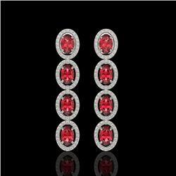 5.88 ctw Tourmaline & Diamond Micro Pave Halo Earrings 10k White Gold - REF-143N6F