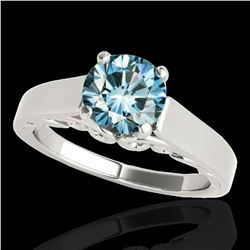 1 ctw SI Certified Fancy Blue Diamond Solitaire Ring 10k White Gold - REF-120R2K